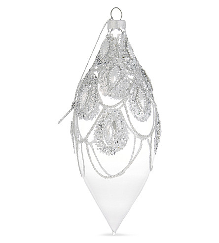 HANGING ORNAMENT Art Deco clear silver bauble 14cm