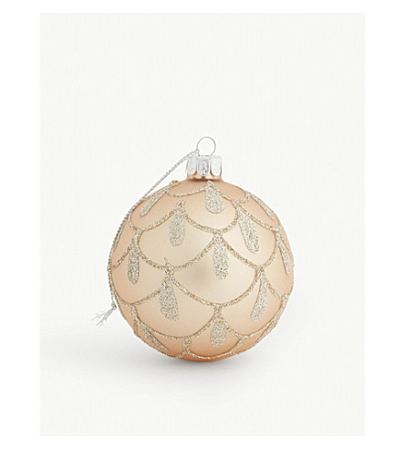 HANGING ORNAMENT Glitter droplet glass bauble 9cm