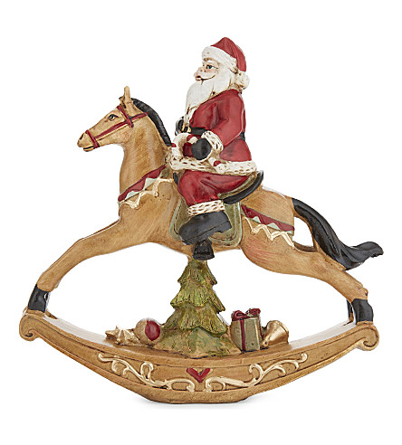 HANGING ORNAMENT Santa on a rocking horse figurine