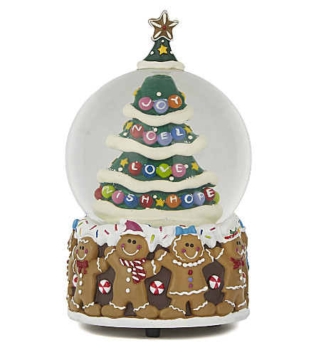ORNAMENT Christmas tree gingerbread snow globe 18cm