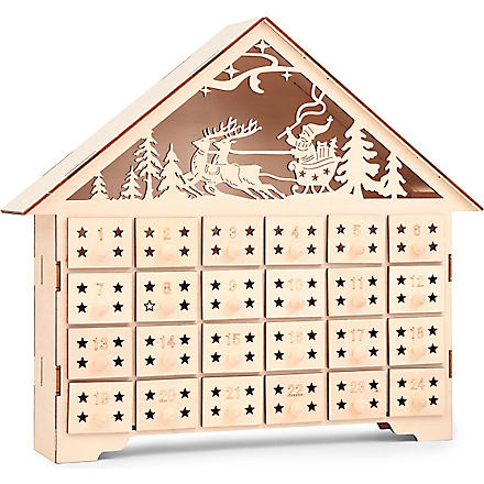 Gisela Graham Wooden House Light Up Advent Calendar