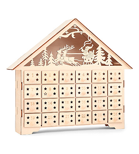 GISELA GRAHAM Wooden House light-up advent calendar