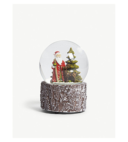 ORNAMENT Santa and reindeer snowglobe 14cm