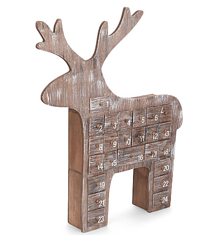 GISELA GRAHAM Reindeer wooden advent calendar