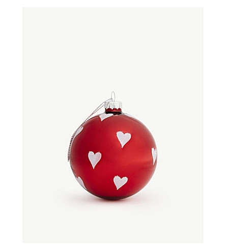 HANGING ORNAMENT Heart print bauble 8cm
