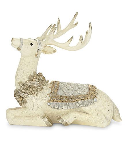 HANGING ORNAMENT Glittered sitting stag ornament