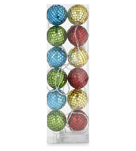 HANGING ORNAMENT Mirror ball LED lights set of 12
