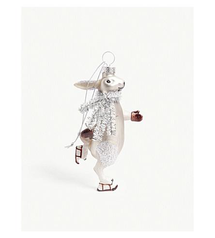 HANGING ORNAMENT Tinsel scarf hare tree decoration 11cm