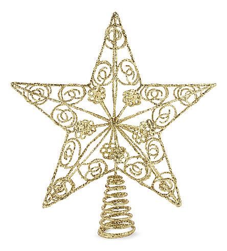HANGING ORNAMENT Gold glitter star tree topper 29cm