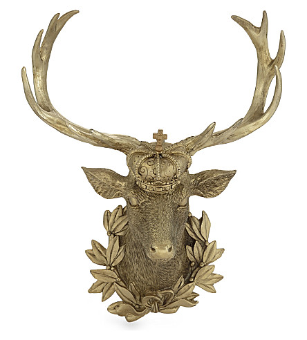 HANGING ORNAMENT Gold resin stag crown 28cm