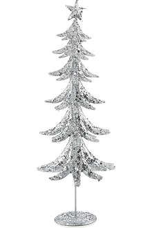 GISELA GRAHAM Glittering silver tone tin tree