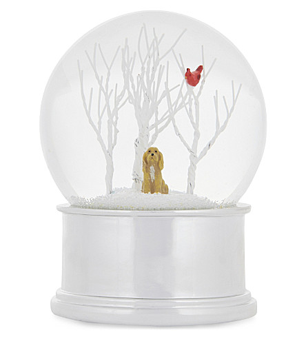 GISELA GRAHAM Glittered dog and bird snow globe 14cm
