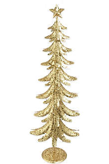 GISELA GRAHAM Glittering gold tone tin tree