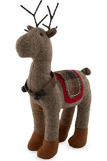 GISELA GRAHAM Fabric standing reindeer decoration 40cm