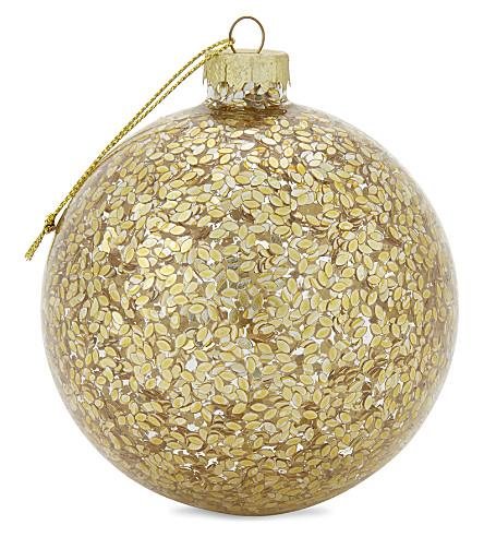 HANGING ORNAMENT Gold confetti bauble 10cm