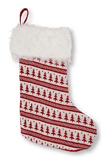GISELA GRAHAM Christmas Tree knitted stocking 50cm