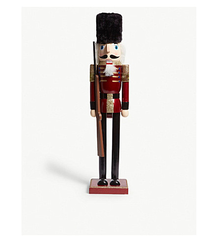 HANGING ORNAMENT Faux fur-trimmed wooden nutcracker 61cm