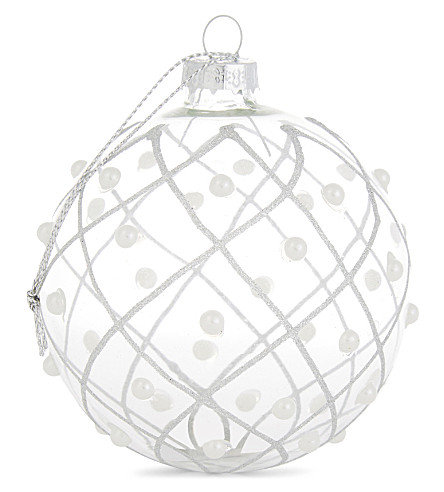 HANGING ORNAMENT Clear glitter bauble 8cm