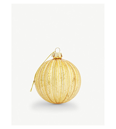 BAUBLE Antique gold ribbed ball 8cm