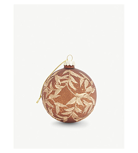 HANGING ORNAMENT Glitter fern glass bauble 8cm