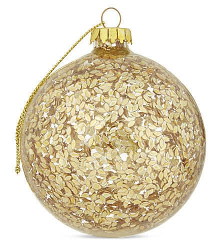 HANGING ORNAMENT Gold confetti bauble
