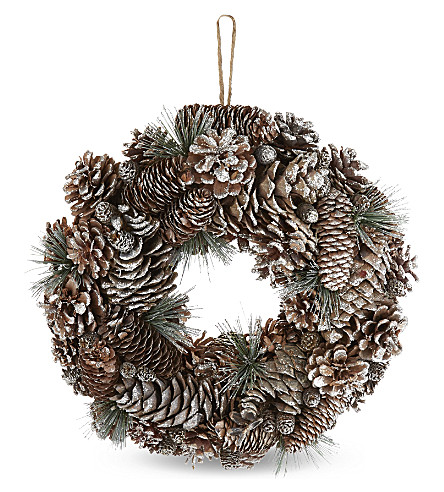 HANGING ORNAMENT Glitter pinecone wreath
