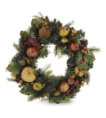 HANGING ORNAMENT Fruit and leaf wreath 42cm