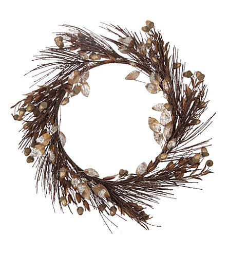 HANGING ORNAMENT Copper leaf wreath 48cm