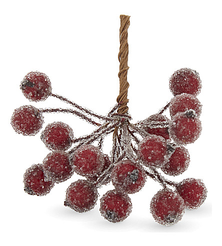 HANGING ORNAMENT Frosted holly berry bunch