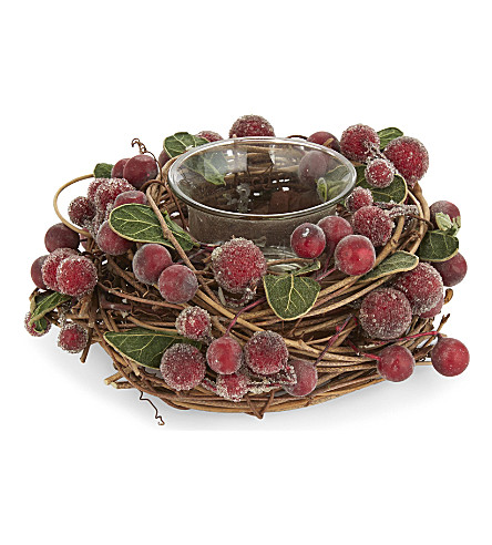 HANGING ORNAMENT Red berry twig tealight holder 7cm
