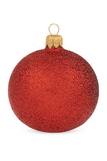 GISELA GRAHAM Cherry red glitter bauble 7cm