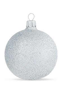 GISELA GRAHAM Silver glitter bauble 7cm