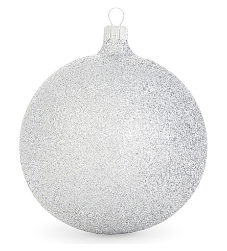 HANGING ORNAMENT Silver glitter bauble 10cm
