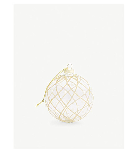 HANGING ORNAMENT Clear gold glitter and pearl bauble 8cm