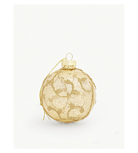 BAUBLE Embellished gold bauble 8cm