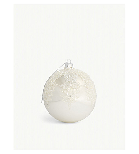 HANGING ORNAMENT Pearl and glitter bauble 10cm