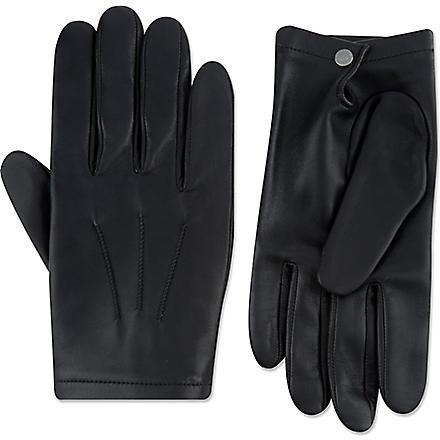 FACONNABLE Silk-lined lambskin gloves (Black