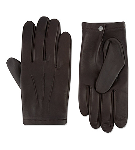 FACONNABLE Silk-lined lambskin gloves (Brown