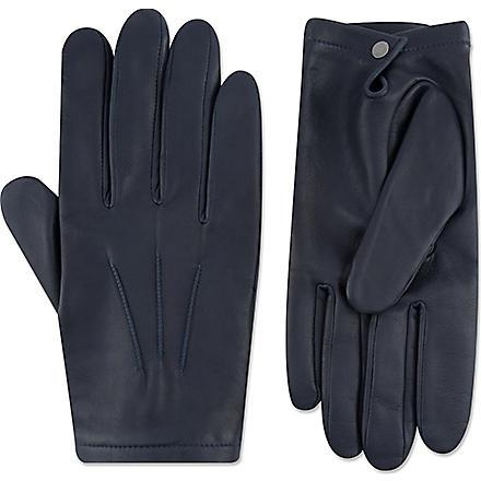 FACONNABLE Silk-lined lambskin gloves (Navy