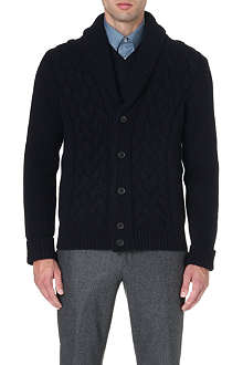 FACONNABLE Shawl-collar cable-knit cardigan