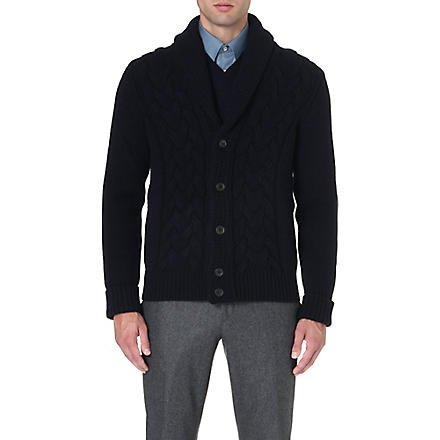 FACONNABLE Shawl-collar cable-knit cardigan (Navy