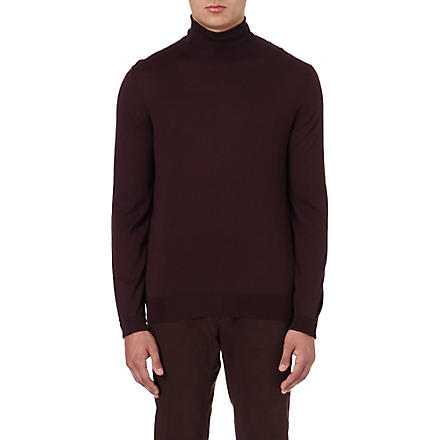 FACONNABLE Roll-neck merino wool jumper (Bordeaux