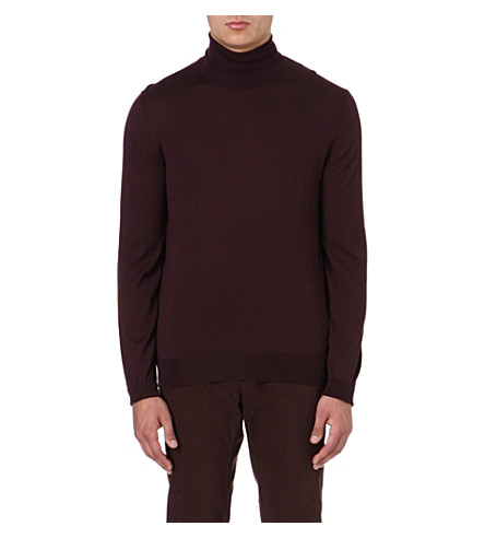 FACONNABLE Roll-neck merino wool jumper (Bordeaux