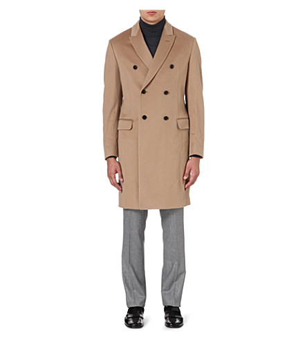 FACONNABLE Double-breasted wool coat (Camel