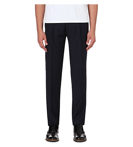 FACONNABLE Slim-fit straight-leg wool trousers (Navy