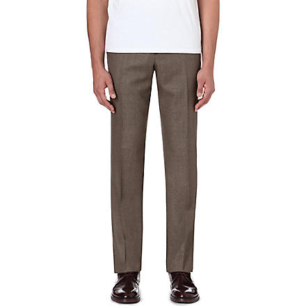 FACONNABLE Slim-fit straight leg wool trousers (Brown