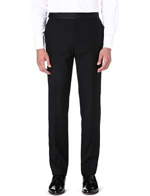FACONNABLE Contrast-waistband wool trousers