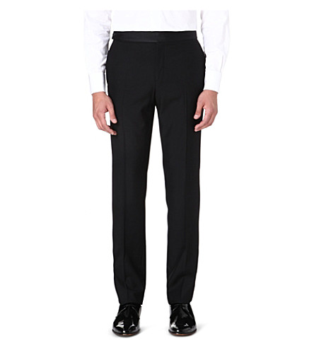 FACONNABLE Contrast-waistband wool trousers (Black