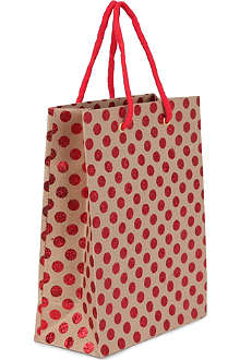 CHRISTMAS Medium polka dot gift bag 25cm