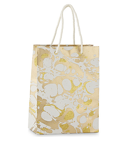VIVID WRAP Glitter marble medium gift bag 24.5cm